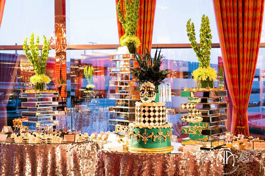 Funky Dessert Display on mirrored towers