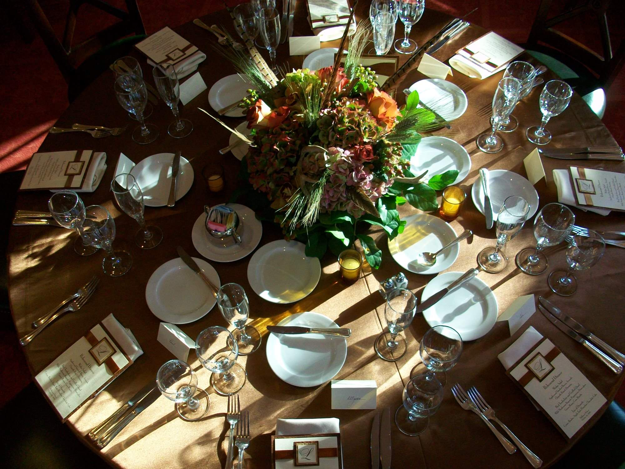 Top Down View Fall Tablescape Oak Room