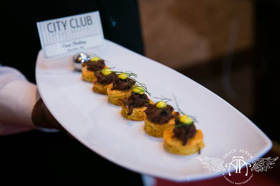 Short Ribs on Polenta Cake Hors D' Oeuvres